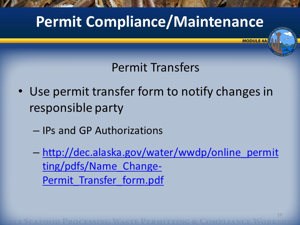 Permit Compliance/Maintenance Permit Transfers Use permit transfer form to notify changes in responsible party – IPs and GP Authorizations – http://dec.alaska.gov/water/wwdp/online_permit ting/pdfs/Name_Change- Permit_Transfer_form.pdf http://dec.alaska.gov/water/wwdp/online_permit ting/pdfs/Name_Change- Permit_Transfer_form.pdf 19