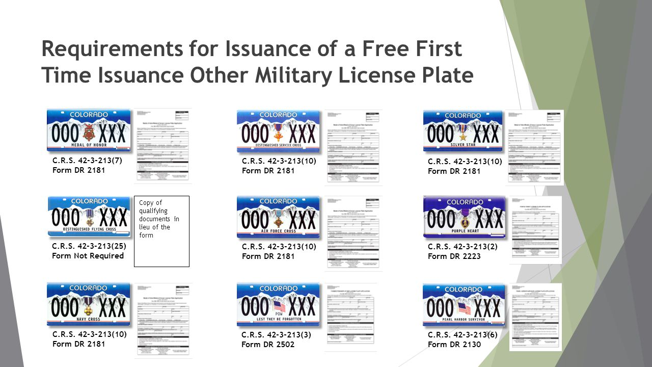 Requirements for Issuance of a Free First Time Issuance Other Military License Plate 10 C.R.S.