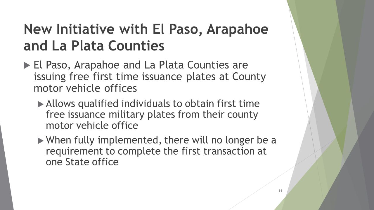 New Initiative with El Paso, Arapahoe and La Plata Counties  El Paso, Arapahoe and La Plata Counties are issuing free first time issuance plates at County motor vehicle offices  Allows qualified individuals to obtain first time free issuance military plates from their county motor vehicle office  When fully implemented, there will no longer be a requirement to complete the first transaction at one State office 14