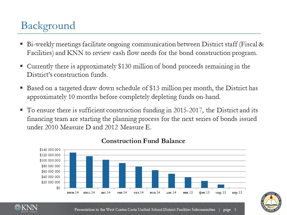 Overview of Bond Program  Because 2005 Measure J is unavailable for many years, new money issues will be a combination of 2010 Measure D and 2012 Measure E bonds.