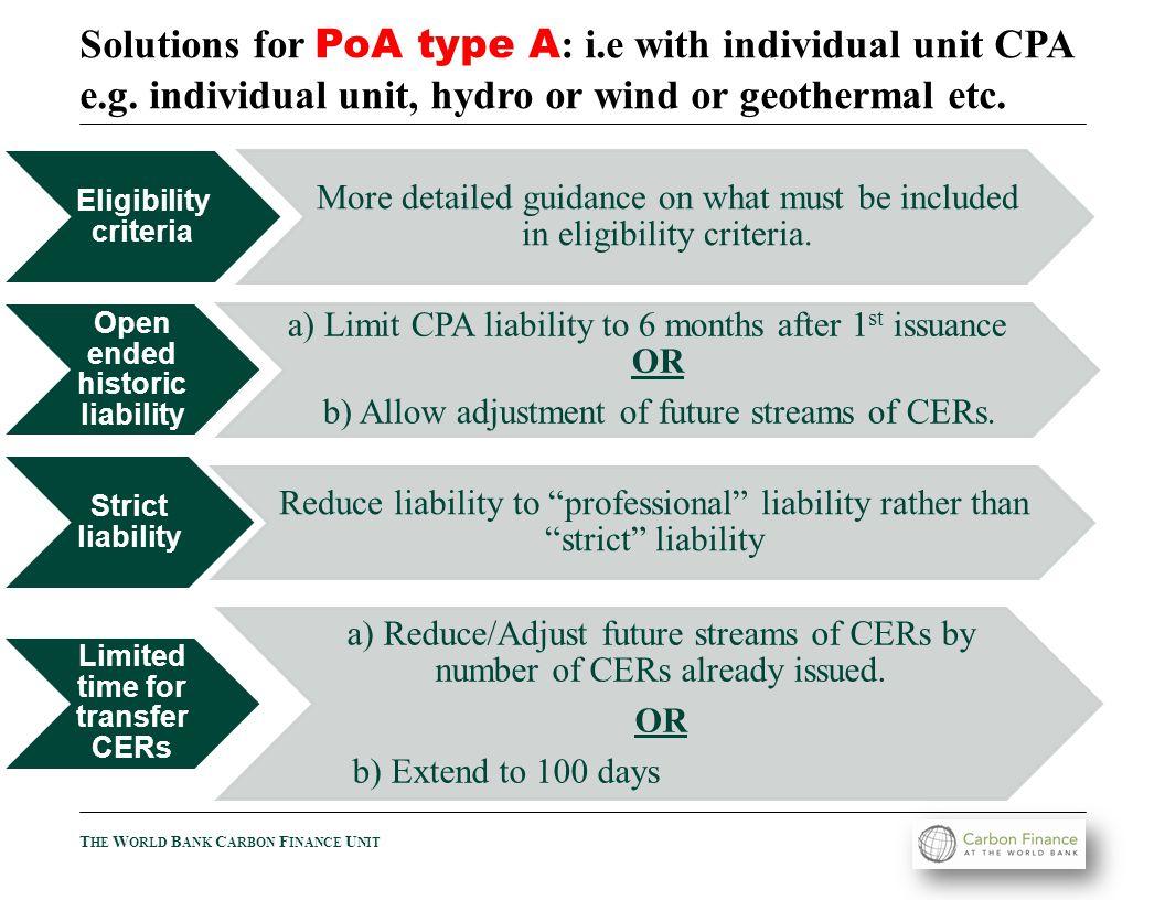 T HE W ORLD B ANK C ARBON F INANCE U NIT Solutions for PoA type B : i.e micro technologies as each unit e.g.