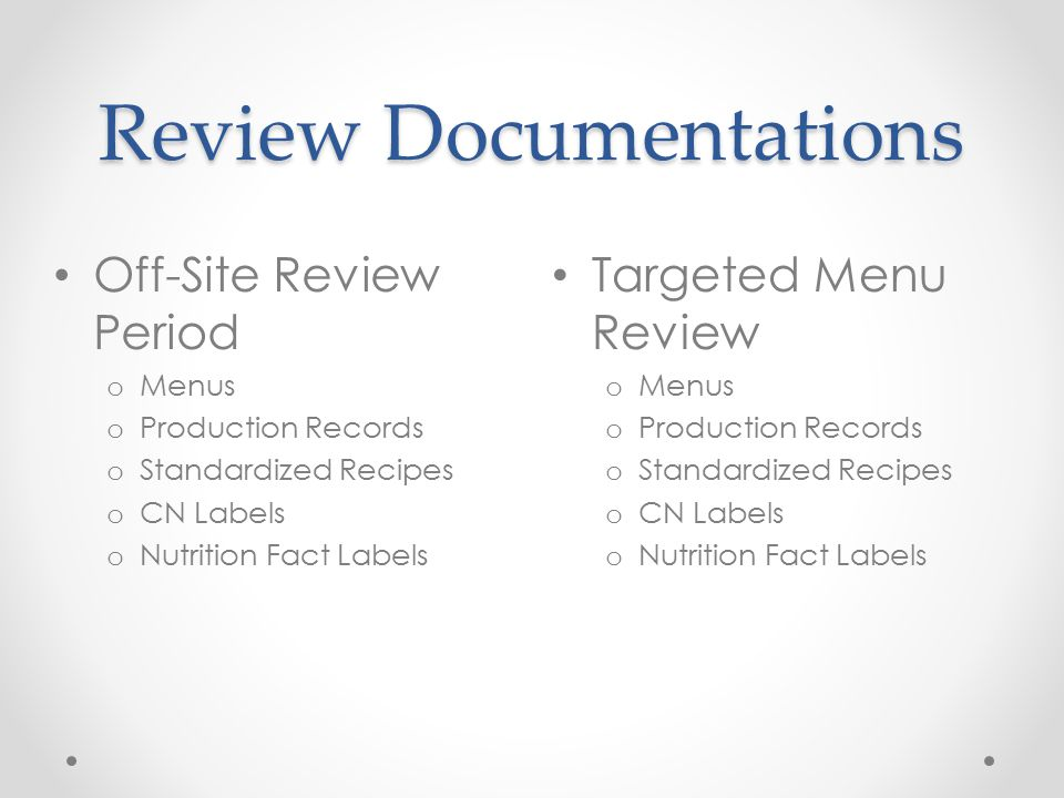 Review Documentations Targeted Menu Review o Menus o Production Records o Standardized Recipes o CN Labels o Nutrition Fact Labels Off-Site Review Per