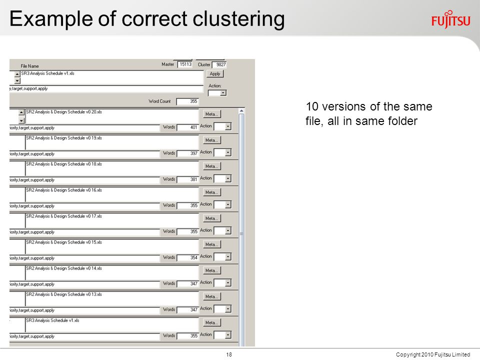 FUJITSU CONFIDENTIAL Example of correct clustering 18Copyright 2010 Fujitsu Limited 10 versions of the same file, all in same folder