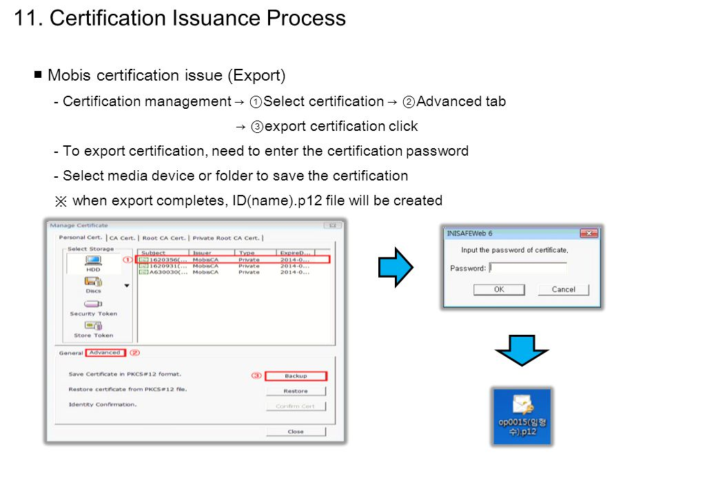■ Mobis certification issue (Export) - Certification management → ① Select certification → ② Advanced tab → ③ export certification click - To export c