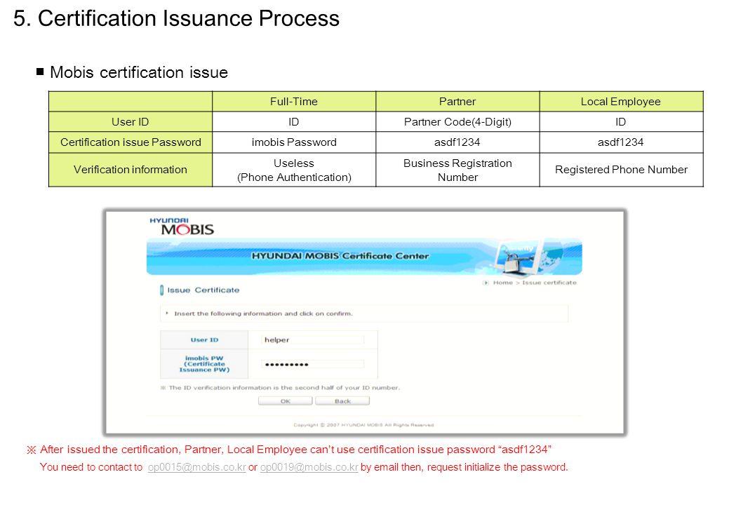 Full-TimePartnerLocal Employee User IDIDPartner Code(4-Digit)ID Certification issue Passwordimobis Passwordasdf1234 Verification information Useless (