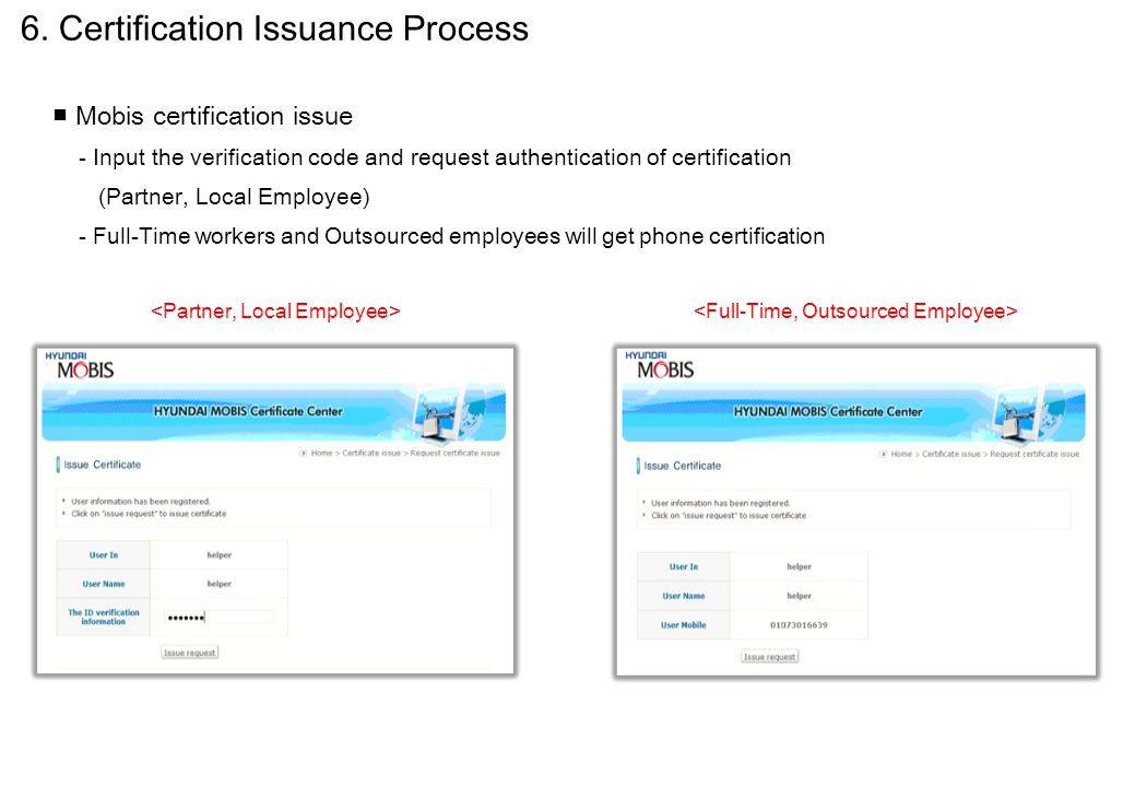 ■ Mobis certification issue - Input the verification code and request authentication of certification (Partner, Local Employee) - Full-Time workers an