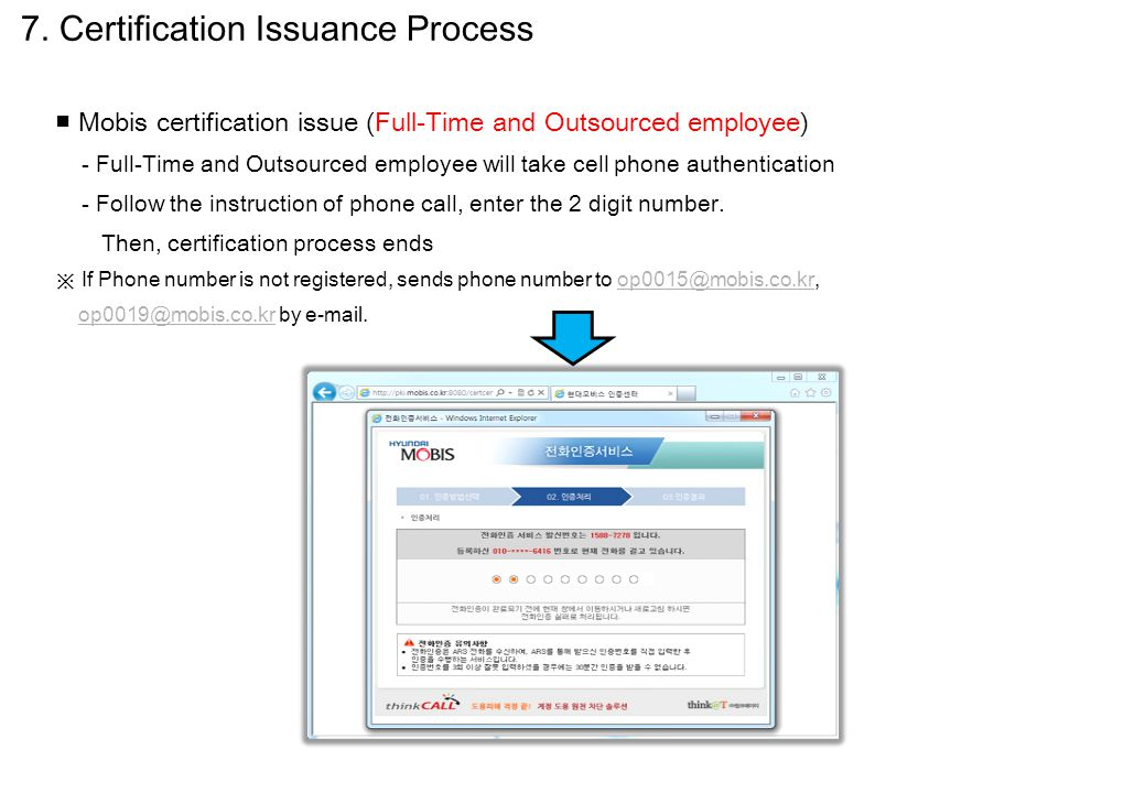 ■ Mobis certification issue (Full-Time and Outsourced employee) - Full-Time and Outsourced employee will take cell phone authentication - Follow the i
