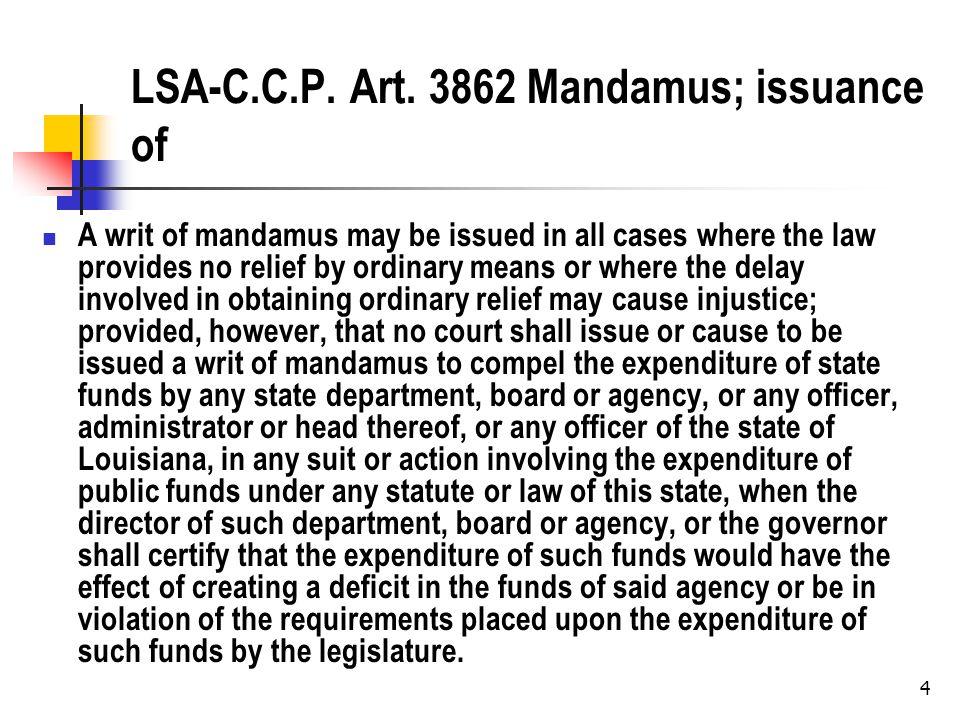 5 Mandamus What is the most famous mandamus case.