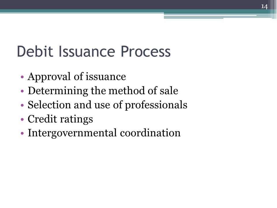 Debit Issuance Process Approval of issuance Determining the method of sale Selection and use of professionals Credit ratings Intergovernmental coordin
