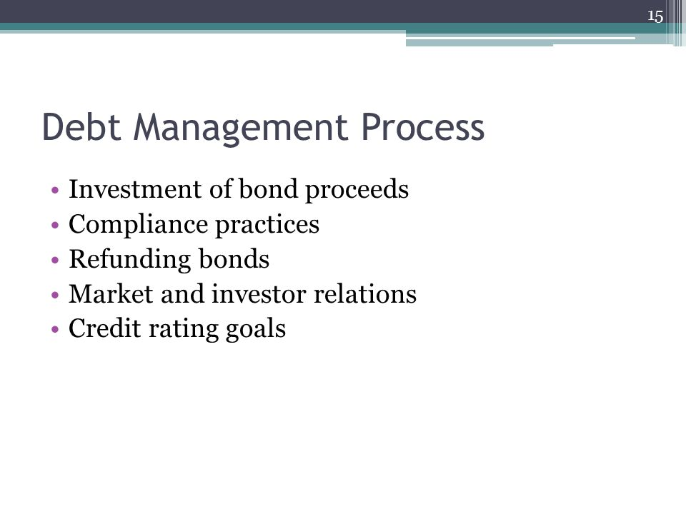 Debt Management Process Investment of bond proceeds Compliance practices Refunding bonds Market and investor relations Credit rating goals 15