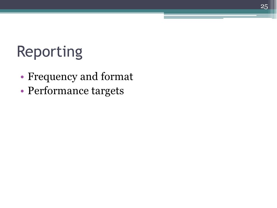Reporting Frequency and format Performance targets 25
