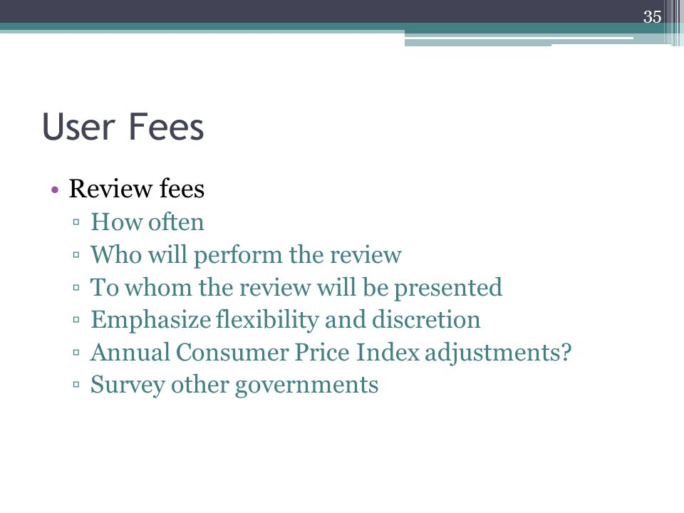 User Fees Review fees ▫How often ▫Who will perform the review ▫To whom the review will be presented ▫Emphasize flexibility and discretion ▫Annual Cons