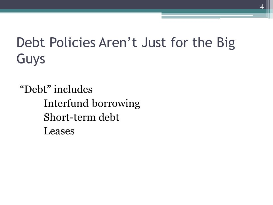 Debt Policies Aren't Just for the Big Guys Debt includes Interfund borrowing Short-term debt Leases 4
