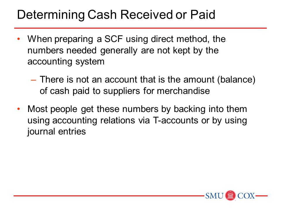 Determining Cash Received or Paid When preparing a SCF using direct method, the numbers needed generally are not kept by the accounting system –There is not an account that is the amount (balance) of cash paid to suppliers for merchandise Most people get these numbers by backing into them using accounting relations via T-accounts or by using journal entries
