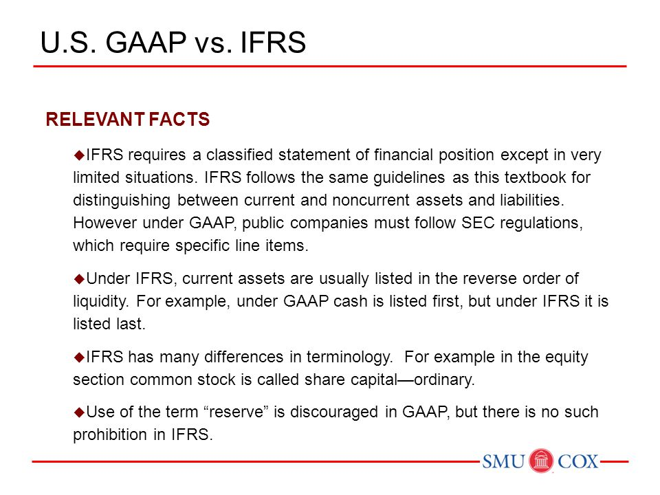 RELEVANT FACTS  IFRS requires a classified statement of financial position except in very limited situations.