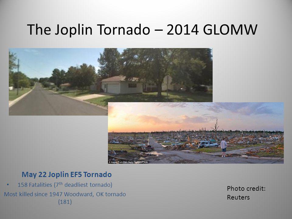 The Joplin Tornado – 2014 GLOMW May 22 Joplin EF5 Tornado 158 Fatalities (7 th deadliest tornado) Most killed since 1947 Woodward, OK tornado (181) 1