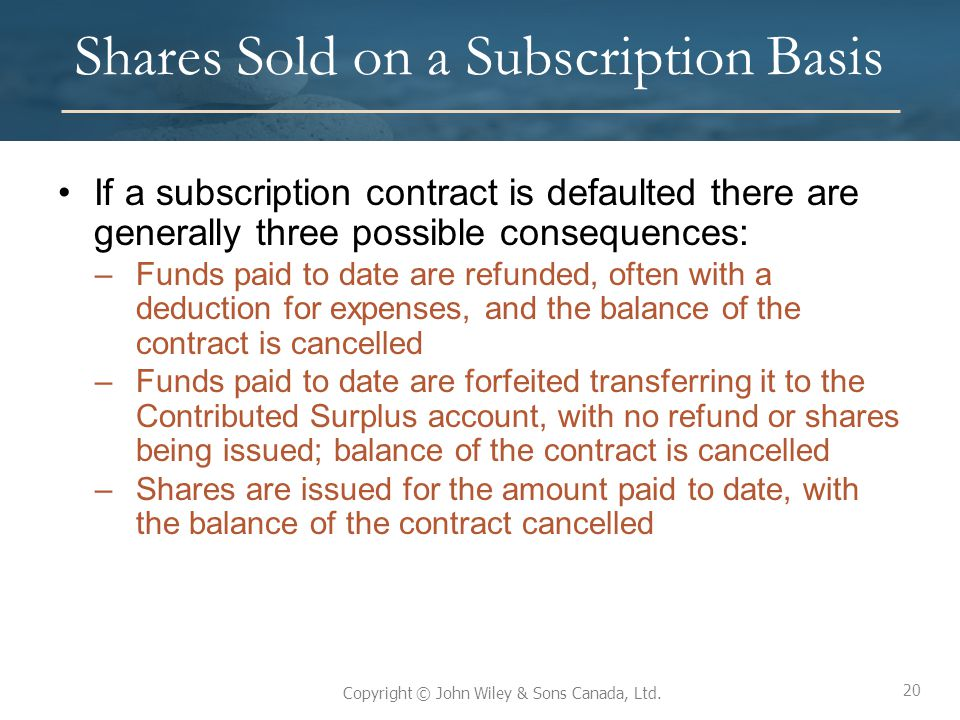 20 Copyright © John Wiley & Sons Canada, Ltd. Shares Sold on a Subscription Basis If a subscription contract is defaulted there are generally three po