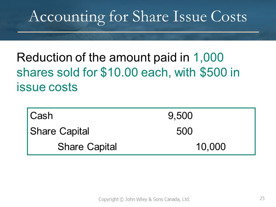 25 Copyright © John Wiley & Sons Canada, Ltd. Accounting for Share Issue Costs Reduction of the amount paid in 1,000 shares sold for $10.00 each, with