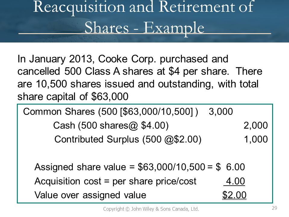29 Copyright © John Wiley & Sons Canada, Ltd. Reacquisition and Retirement of Shares - Example In January 2013, Cooke Corp. purchased and cancelled 50