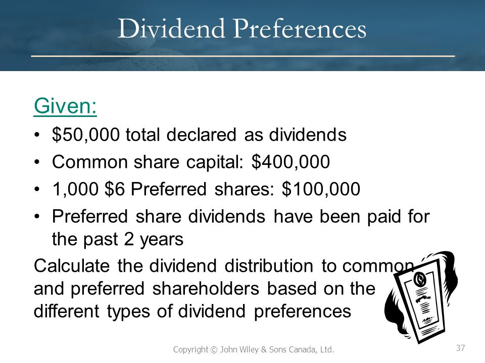 37 Copyright © John Wiley & Sons Canada, Ltd. Dividend Preferences Given: $50,000 total declared as dividends Common share capital: $400,000 1,000 $6