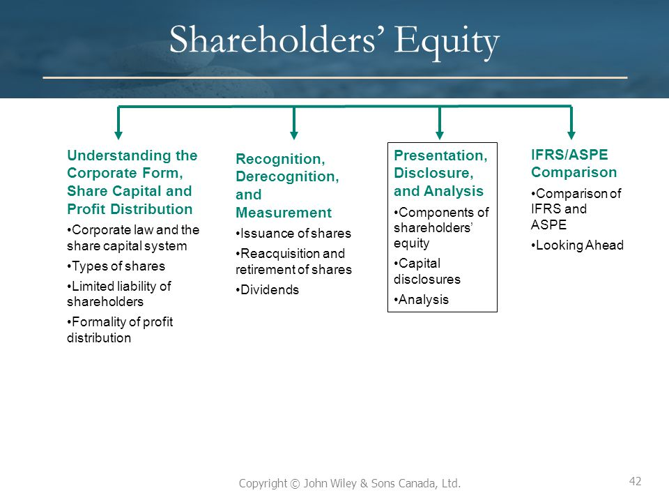 42 Copyright © John Wiley & Sons Canada, Ltd. Shareholders' Equity Understanding the Corporate Form, Share Capital and Profit Distribution Corporate l