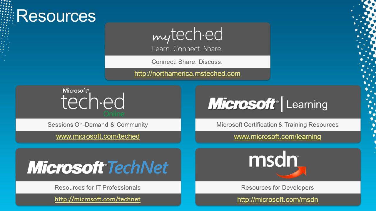 www.microsoft.com/teched Sessions On-Demand & CommunityMicrosoft Certification & Training Resources Resources for IT ProfessionalsResources for Developers www.microsoft.com/learning http://microsoft.com/technet http://microsoft.com/msdn http://northamerica.msteched.com Connect.