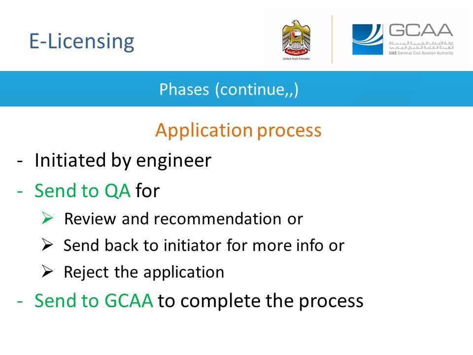 E-Licensing Phases (continue,,) Application process -Initiated by engineer -Send to QA for  Review and recommendation or  Send back to initiator for more info or  Reject the application -Send to GCAA to complete the process