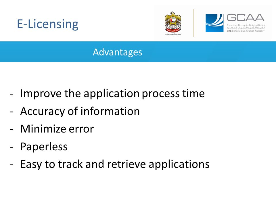 E-Licensing Advantages -Improve the application process time -Accuracy of information -Minimize error -Paperless -Easy to track and retrieve applications