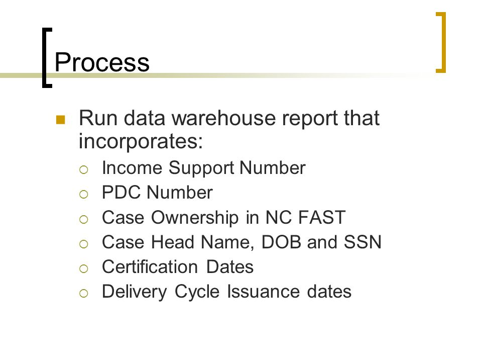 Process Run data warehouse report that incorporates:  Income Support Number  PDC Number  Case Ownership in NC FAST  Case Head Name, DOB and SSN  Certification Dates  Delivery Cycle Issuance dates