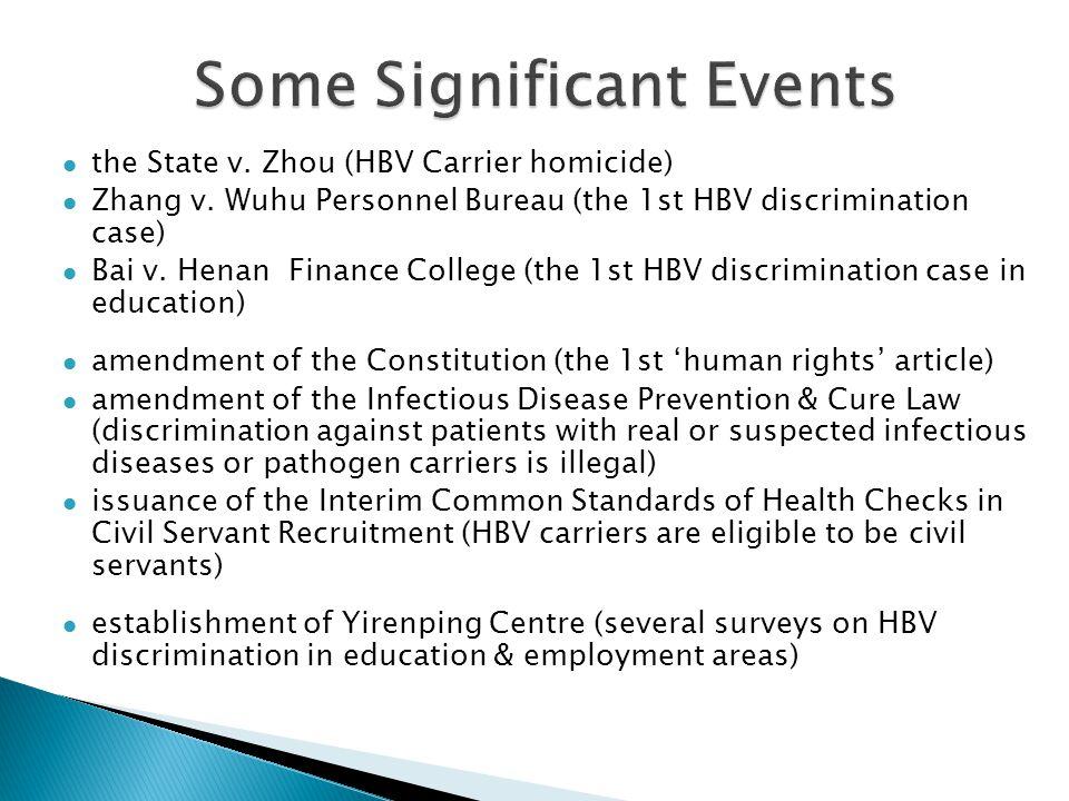the State v. Zhou (HBV Carrier homicide) Zhang v. Wuhu Personnel Bureau (the 1st HBV discrimination case) Bai v. Henan Finance College (the 1st HBV di