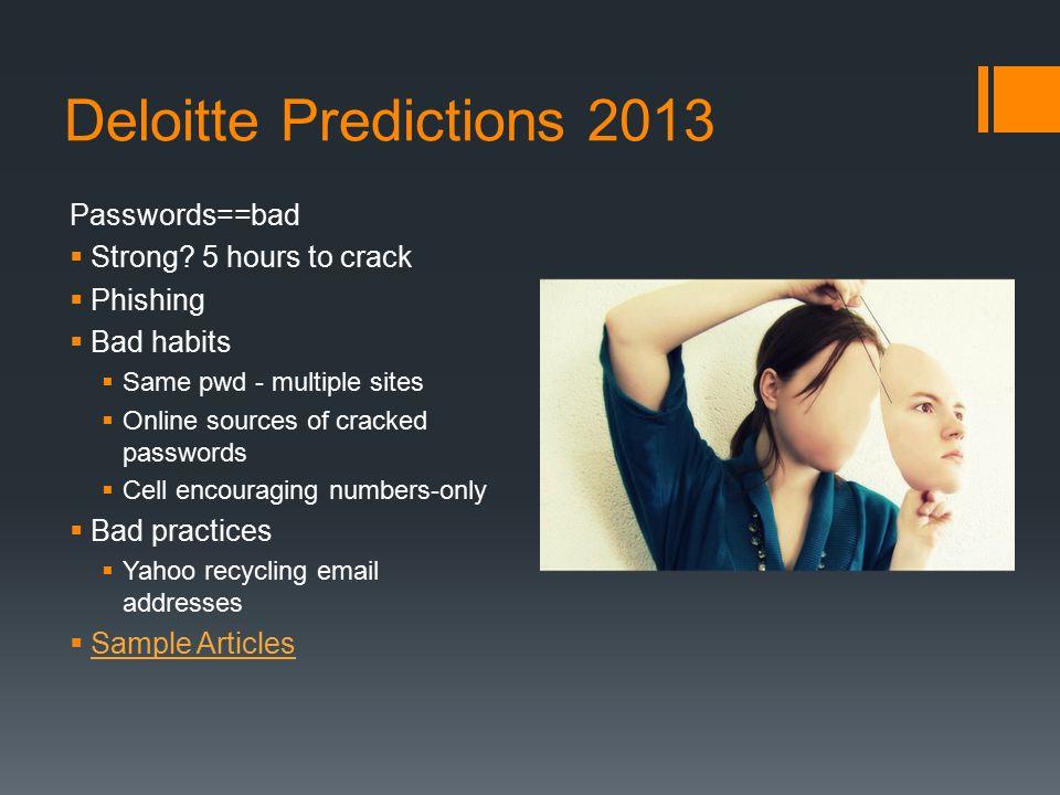 Deloitte Predictions 2013 Passwords==bad  Strong.