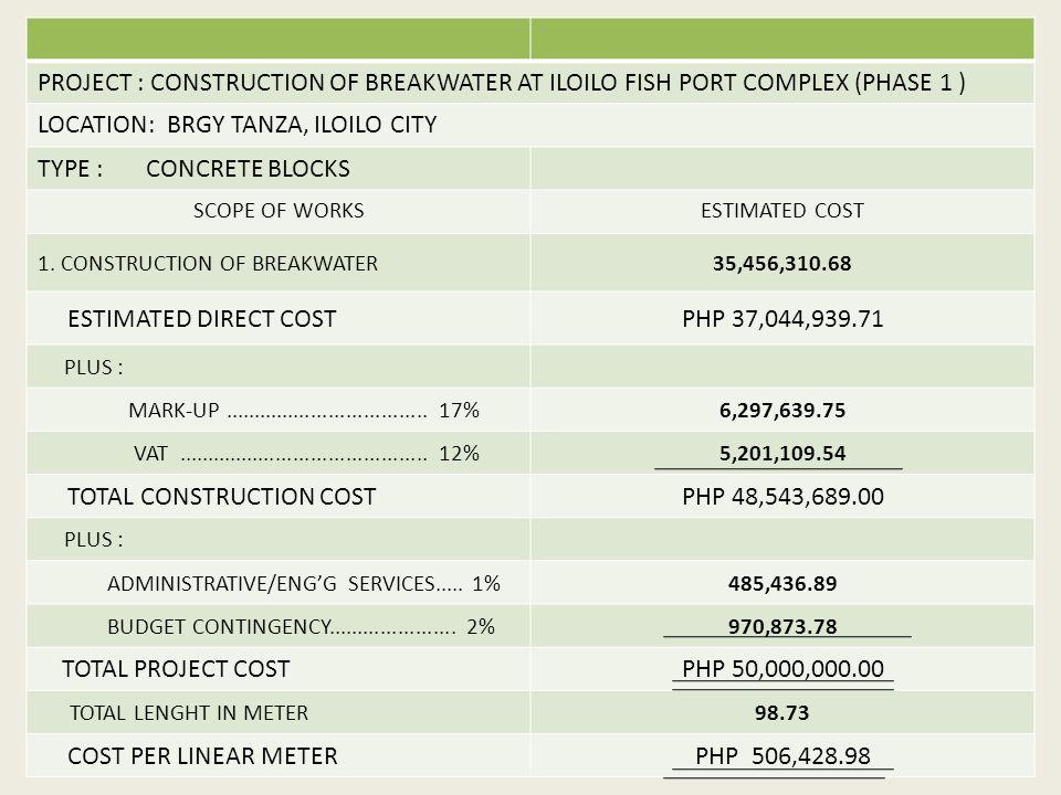 PROJECT : CONSTRUCTION OF BREAKWATER AT ILOILO FISH PORT COMPLEX (PHASE 1 ) LOCATION: BRGY TANZA, ILOILO CITY TYPE : CONCRETE BLOCKS SCOPE OF WORKSESTIMATED COST 1.
