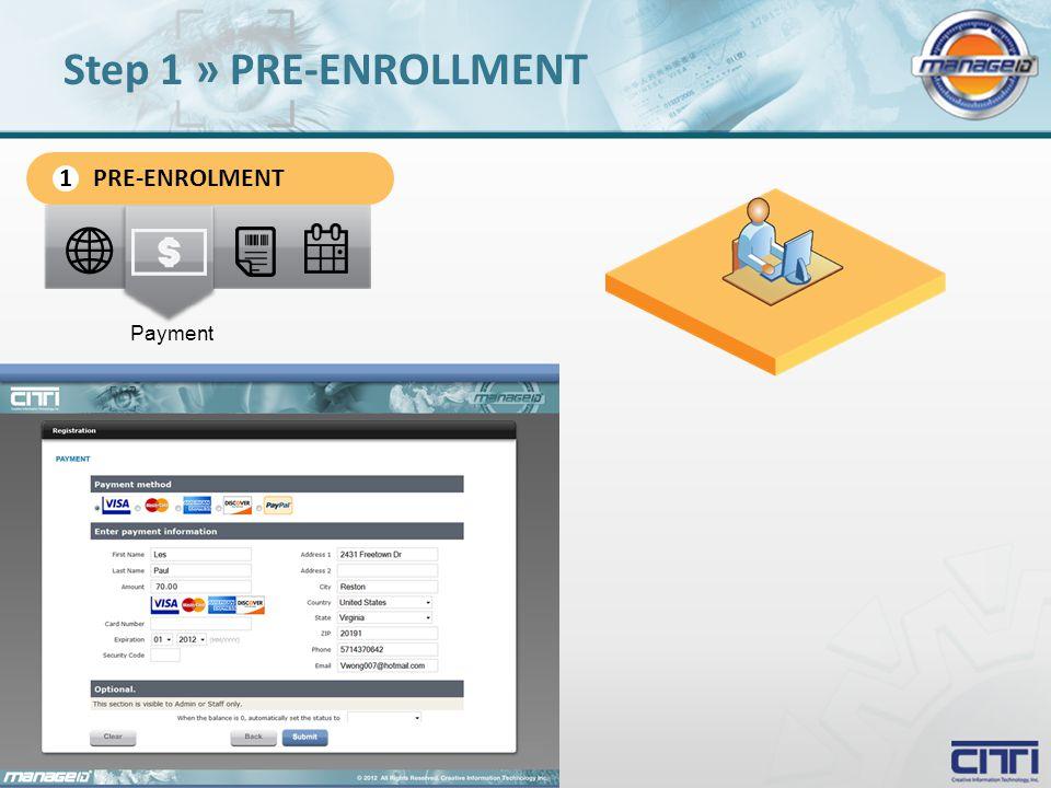 Payment Step 1 » PRE-ENROLLMENT PRE-ENROLMENT 1