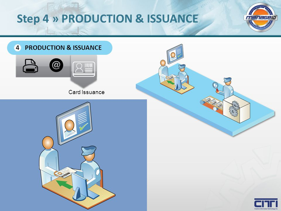 Card Issuance PRODUCTION & ISSUANCE 4 Step 4 » PRODUCTION & ISSUANCE