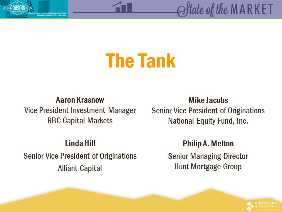 The Tank Aaron Krasnow Vice President-Investment Manager RBC Capital Markets Linda Hill Senior Vice President of Originations Alliant Capital Mike Jacobs Senior Vice President of Originations National Equity Fund, Inc.