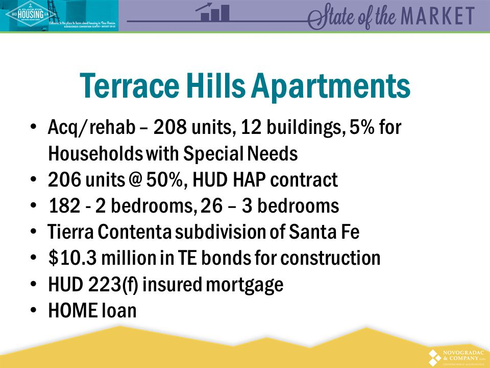 Terrace Hills Apartments Acq/rehab – 208 units, 12 buildings, 5% for Households with Special Needs 206 units @ 50%, HUD HAP contract 182 - 2 bedrooms, 26 – 3 bedrooms Tierra Contenta subdivision of Santa Fe $10.3 million in TE bonds for construction HUD 223(f) insured mortgage HOME loan