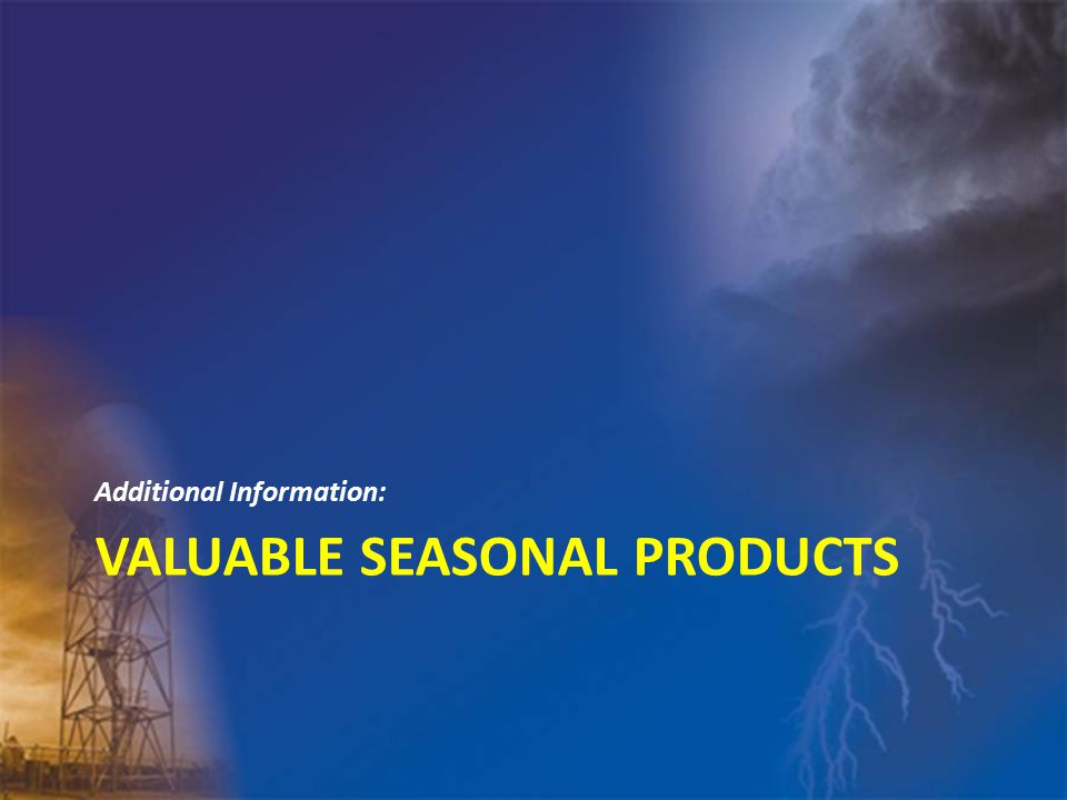 VALUABLE SEASONAL PRODUCTS Additional Information: