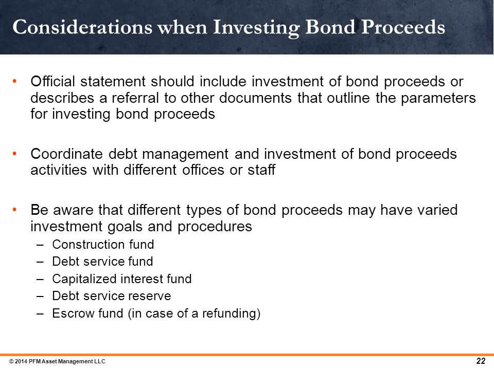 Official statement should include investment of bond proceeds or describes a referral to other documents that outline the parameters for investing bon