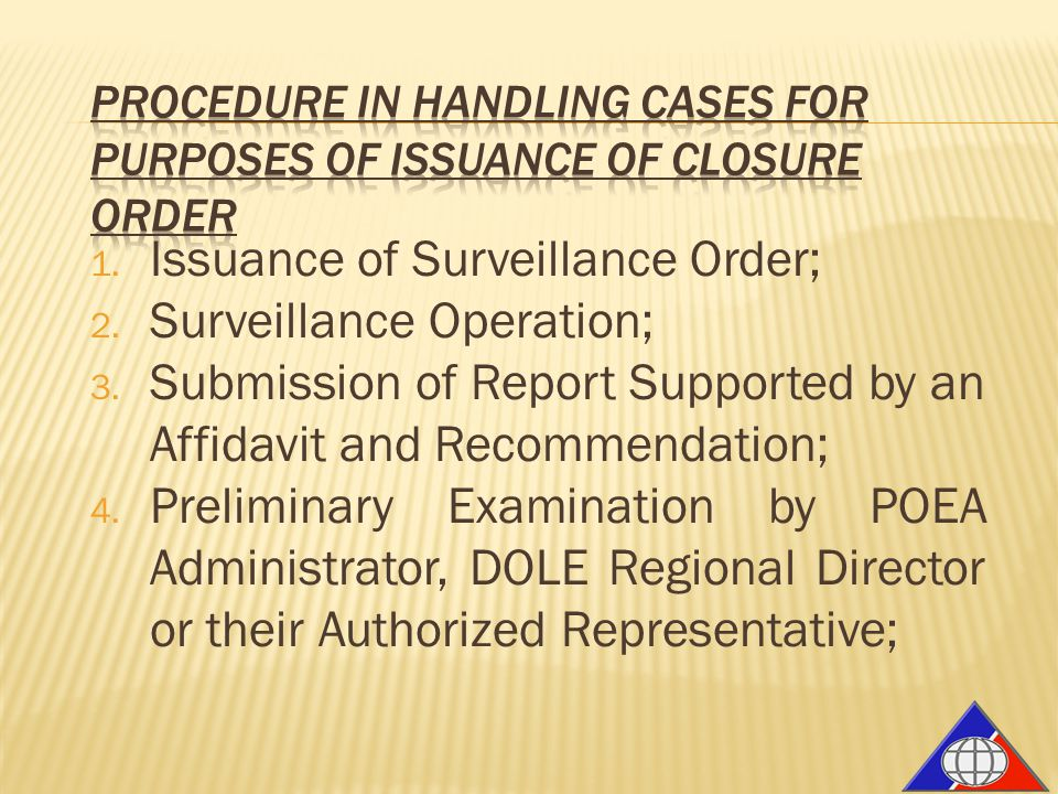 1. Issuance of Surveillance Order; 2. Surveillance Operation; 3. Submission of Report Supported by an Affidavit and Recommendation; 4. Preliminary Exa