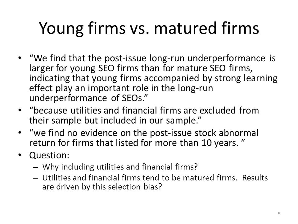 Young firms vs.