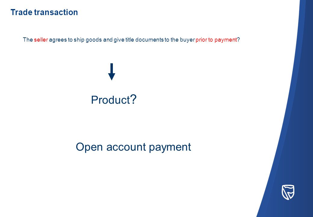 Open account payment The seller agrees to ship goods and give title documents to the buyer prior to payment.