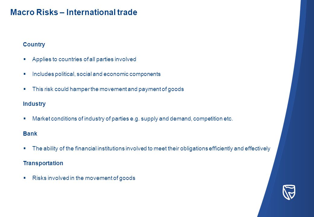 Country  Applies to countries of all parties involved  Includes political, social and economic components  This risk could hamper the movement and payment of goods Industry  Market conditions of industry of parties e.g.