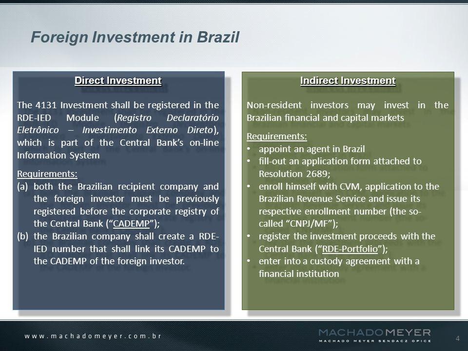 4 Direct Investment The 4131 Investment shall be registered in the RDE-IED Module (Registro Declaratório Eletrônico – Investimento Externo Direto), which is part of the Central Bank's on-line Information System Requirements: (a)both the Brazilian recipient company and the foreign investor must be previously registered before the corporate registry of the Central Bank ( CADEMP ); (b)the Brazilian company shall create a RDE- IED number that shall link its CADEMP to the CADEMP of the foreign investor.