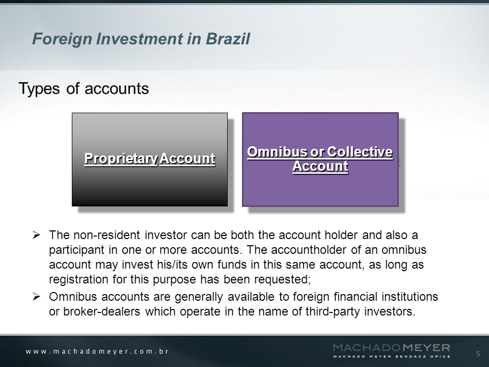5 Foreign Investment in Brazil Types of accounts ProprietaryAccount Proprietary Account Omnibus or Collective Account  The non-resident investor can be both the account holder and also a participant in one or more accounts.
