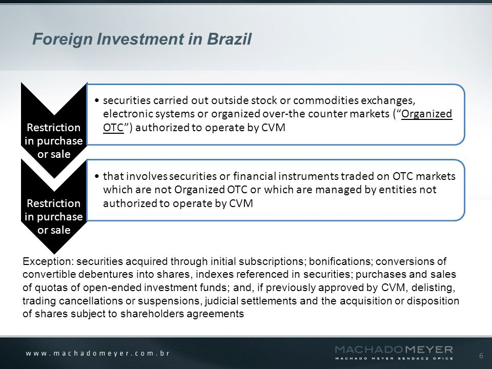 6 Foreign Investment in Brazil Restriction in purchase or sale securities carried out outside stock or commodities exchanges, electronic systems or organized over-the counter markets ( Organized OTC ) authorized to operate by CVM Restriction in purchase or sale that involves securities or financial instruments traded on OTC markets which are not Organized OTC or which are managed by entities not authorized to operate by CVM Exception: securities acquired through initial subscriptions; bonifications; conversions of convertible debentures into shares, indexes referenced in securities; purchases and sales of quotas of open-ended investment funds; and, if previously approved by CVM, delisting, trading cancellations or suspensions, judicial settlements and the acquisition or disposition of shares subject to shareholders agreements