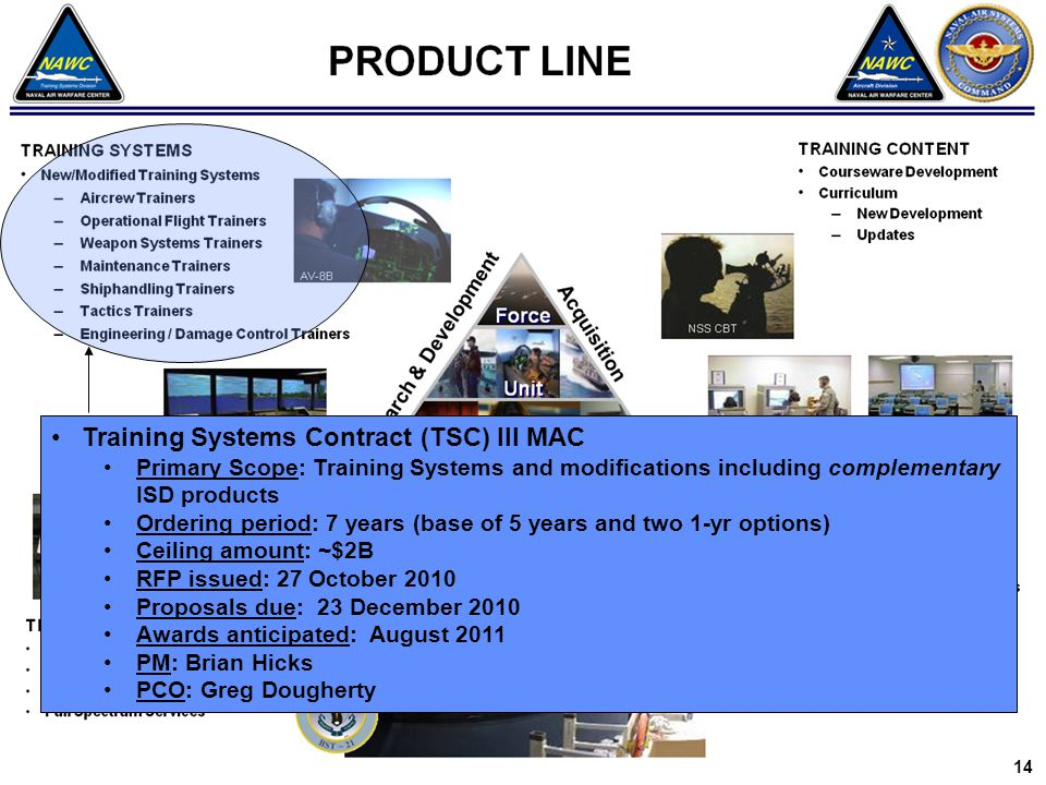 Training Systems Contract (TSC) III MAC Primary Scope: Training Systems and modifications including complementary ISD products Ordering period: 7 year