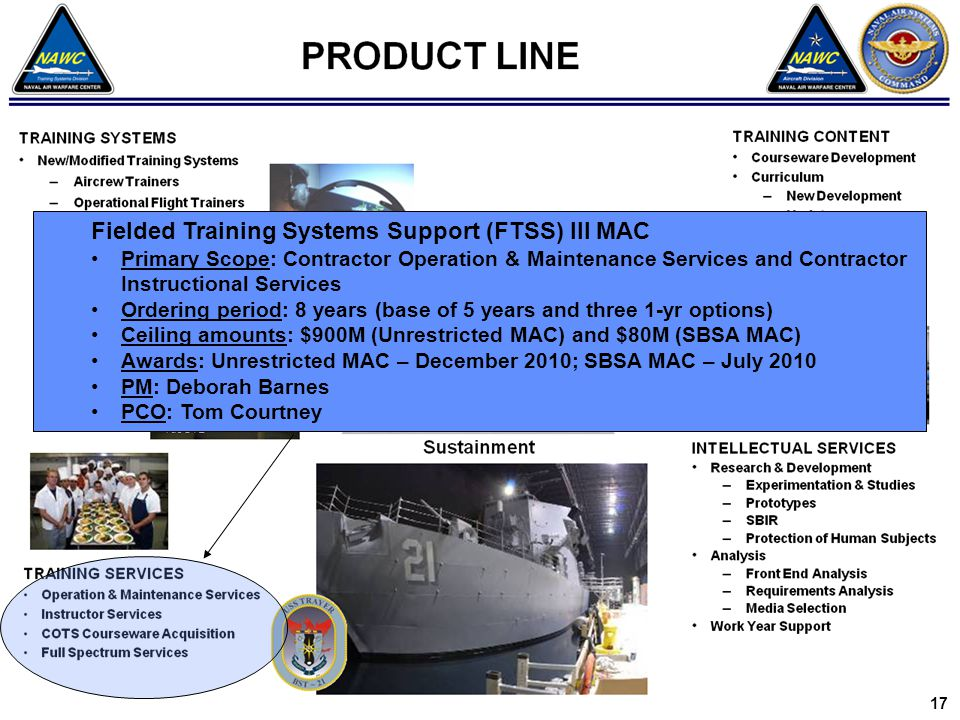 Fielded Training Systems Support (FTSS) III MAC Primary Scope: Contractor Operation & Maintenance Services and Contractor Instructional Services Ordering period: 8 years (base of 5 years and three 1-yr options) Ceiling amounts: $900M (Unrestricted MAC) and $80M (SBSA MAC) Awards: Unrestricted MAC – December 2010; SBSA MAC – July 2010 PM: Deborah Barnes PCO: Tom Courtney 17