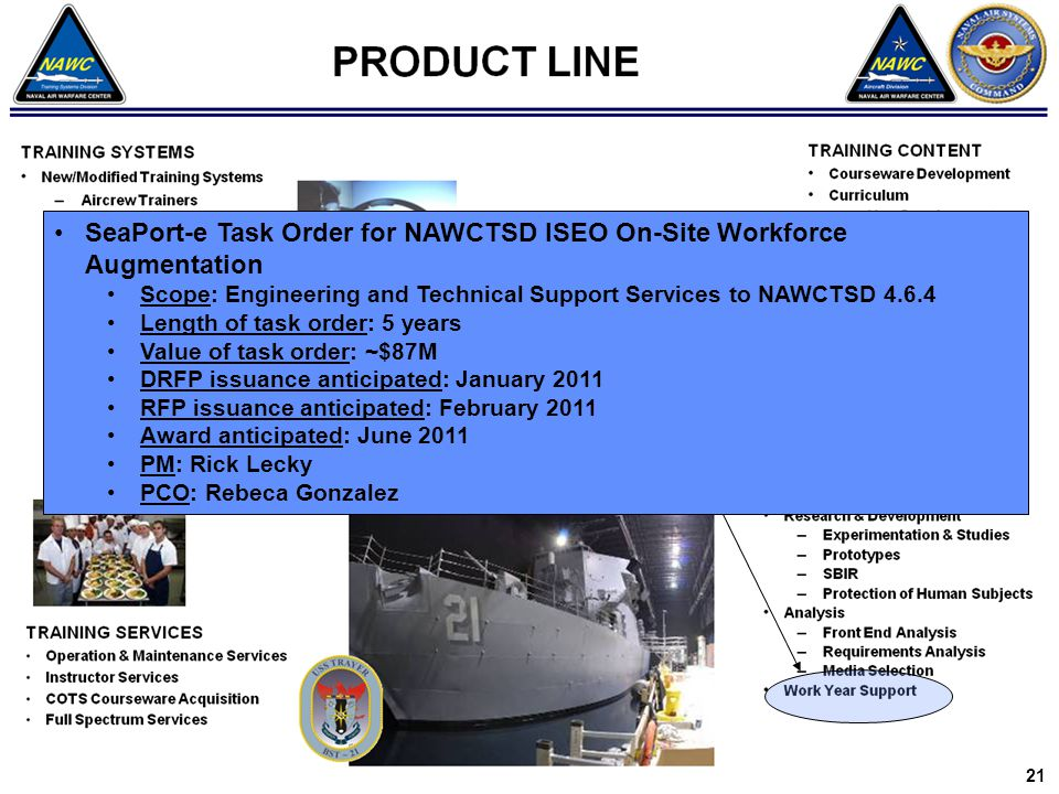 SeaPort-e Task Order for NAWCTSD ISEO On-Site Workforce Augmentation Scope: Engineering and Technical Support Services to NAWCTSD 4.6.4 Length of task order: 5 years Value of task order: ~$87M DRFP issuance anticipated: January 2011 RFP issuance anticipated: February 2011 Award anticipated: June 2011 PM: Rick Lecky PCO: Rebeca Gonzalez 21