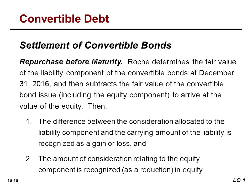 16-16 Settlement of Convertible Bonds Repurchase before Maturity. Roche determines the fair value of the liability component of the convertible bonds