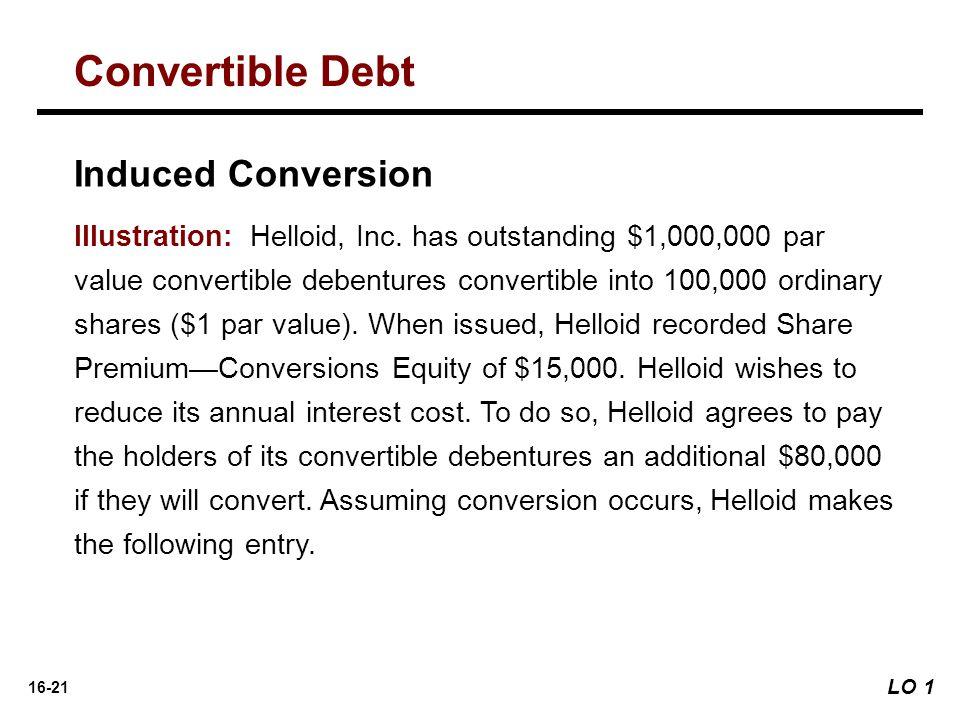 16-21 Induced Conversion Illustration: Helloid, Inc. has outstanding $1,000,000 par value convertible debentures convertible into 100,000 ordinary sha